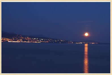 moon setting over evian france